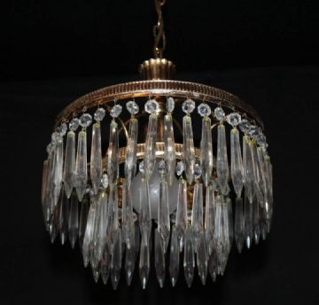 VINTAGE FRENCH  2 TIER  WATERFALL CIRCULAR CEILING LIGHT  Ref: AFB27